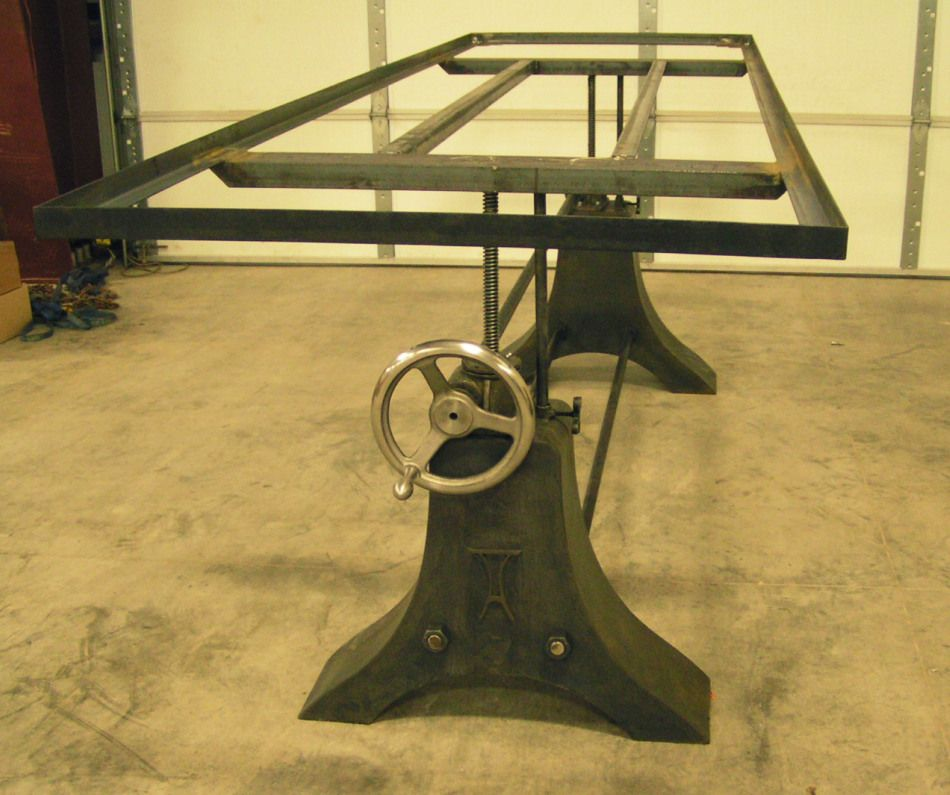 Acutech works industrial style table base acutech works for Industrial crank table