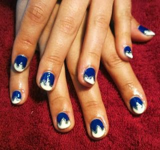 blue with white & glitter tips