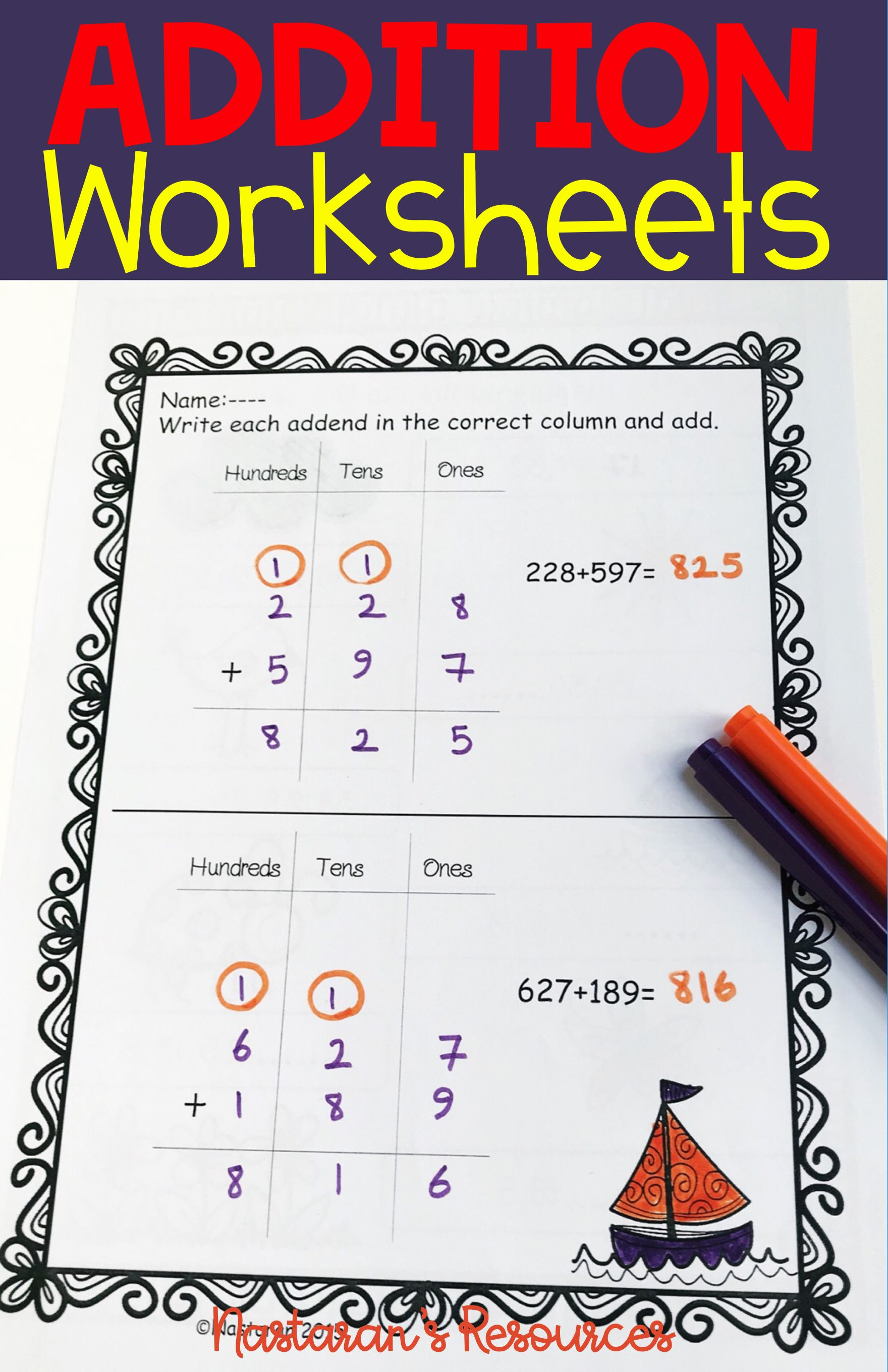 Three Digit Addition With Regrouping Worksheets