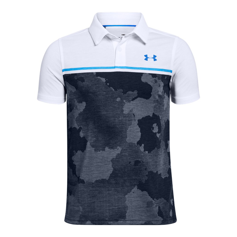 Under Armour Charged Cotton Heather Polo Large Short Sleeve Shirt Boys Black