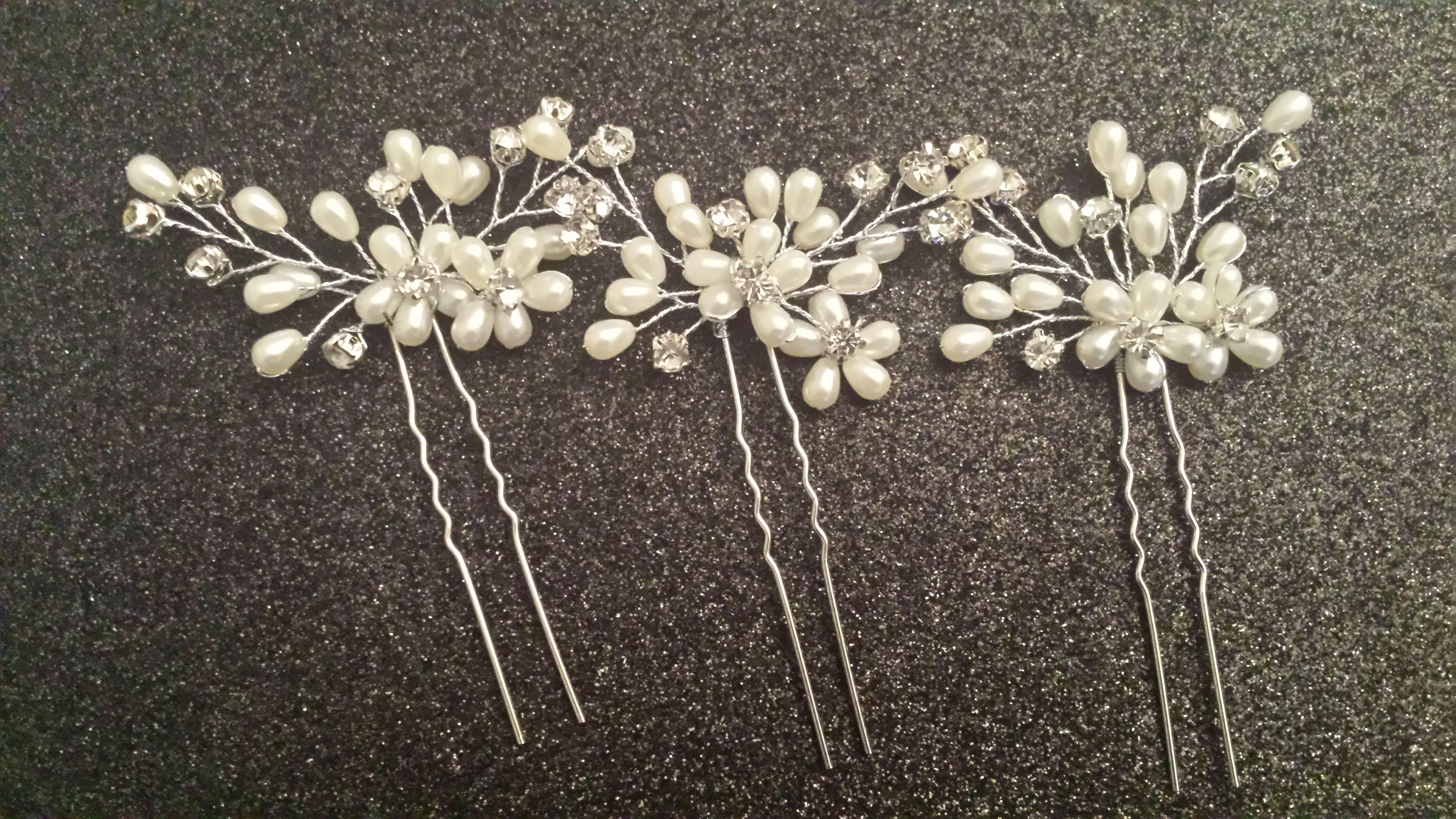 Kristallperlen Blumenhaarnadeln Hochzeit Braut Brautjungfer Haarschmuck Prom