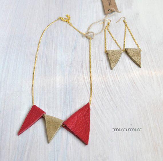 Eco friendly set,Jewelry set,Necklace and earrings set,Red necklace set,Leather jewelry set,Contemporary jewelry,Triangles jewelry set