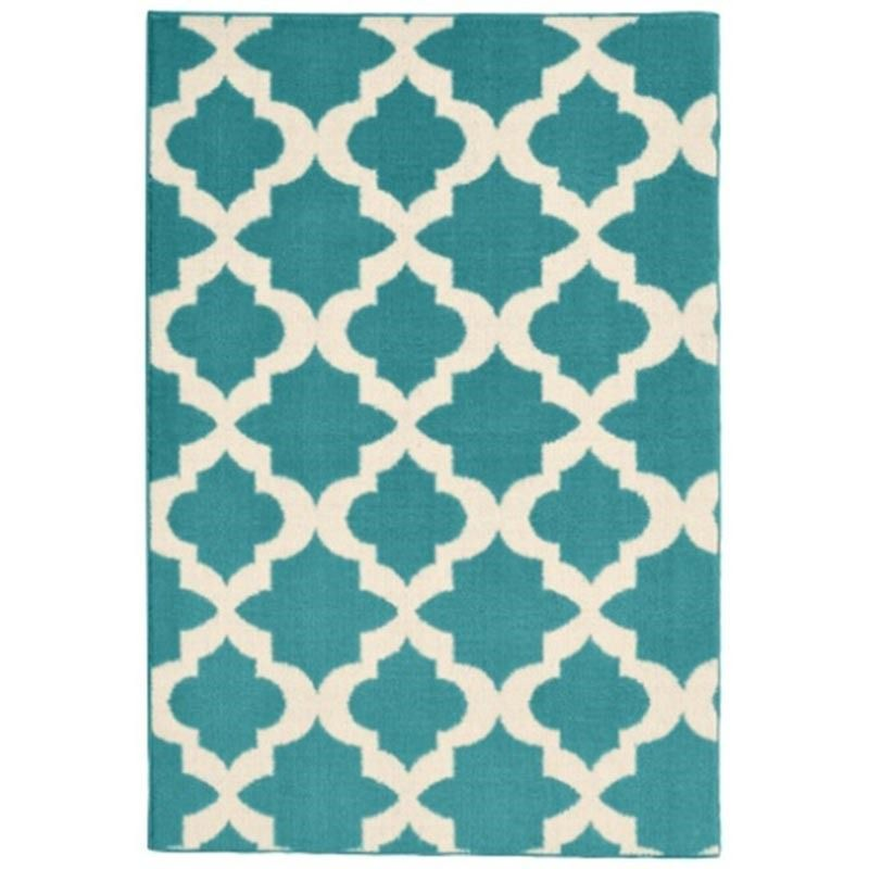 this bright blue and white rug will work indoors or outdoors. now