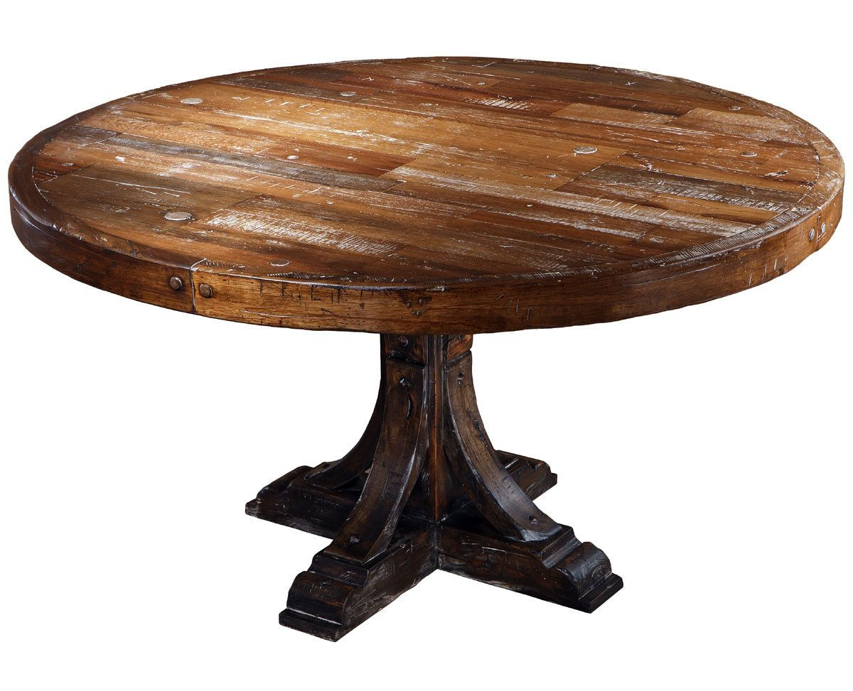 Round Wood Dining Table: Astonishing Taracea Moelle Monty Reclaimed Wood  Round Dining Table With Brown Base Color And Wax Finishing