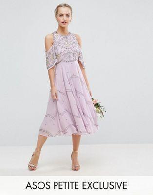 135 CAD - LILAC ASOS PETITE Wedding Embellished Floral Cold Shoulder Midi  Dress c299253eae0d7