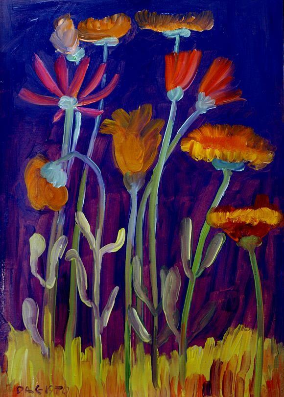 Кандинский-ДАЕ - Цветы на клумбе. Картон, масло, 49-35 ...