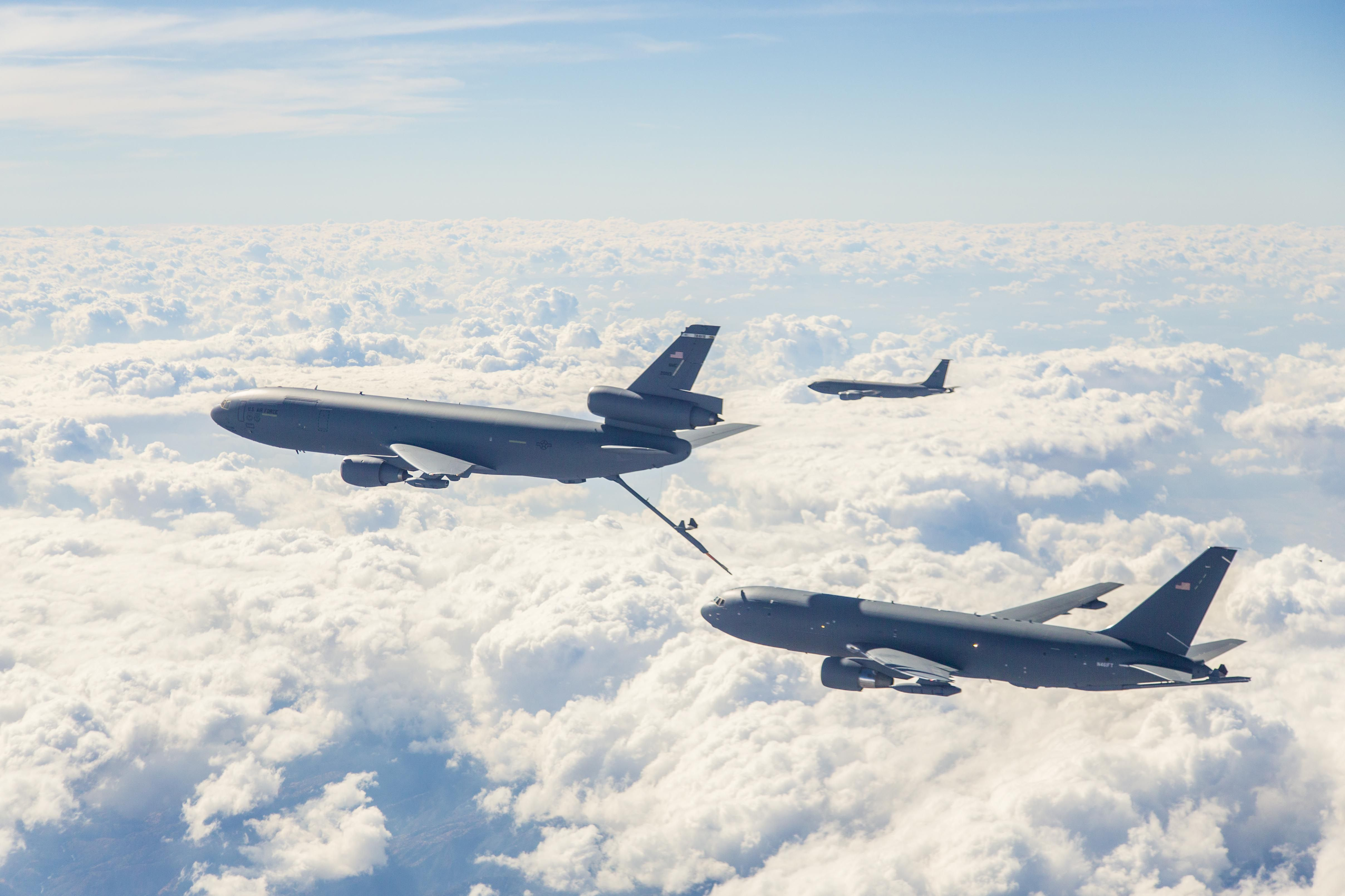 EDWARDS AIR FORCE BASE, Calif.-KC-46 program's first test aircraft,Boeing 767-2C (EMD-1), departed from home at Boeing Field in Seattle and touched down at Edwards for first time Oct. 15.Plan is to have the 767-2C here for about two weeks.Boeing and 418th Flight Test Squadron conducting Ground Effects and Fuel Onload Fatigue testing on new tanker.Ground Effects testing is to gather aerodynamic data for updating the KC-46A simulator as well as supporting  supporting certification.