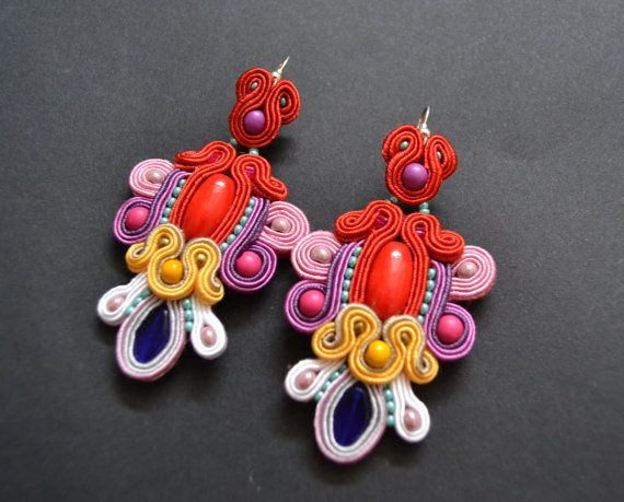 Colorful+dangle+earrings+made+by+soutache+by+AccessoriesAM+on+Etsy,+$58.00