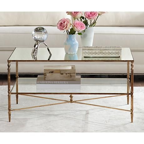 uttermost henzler glass and gold leaf coffee table - style # 2h908