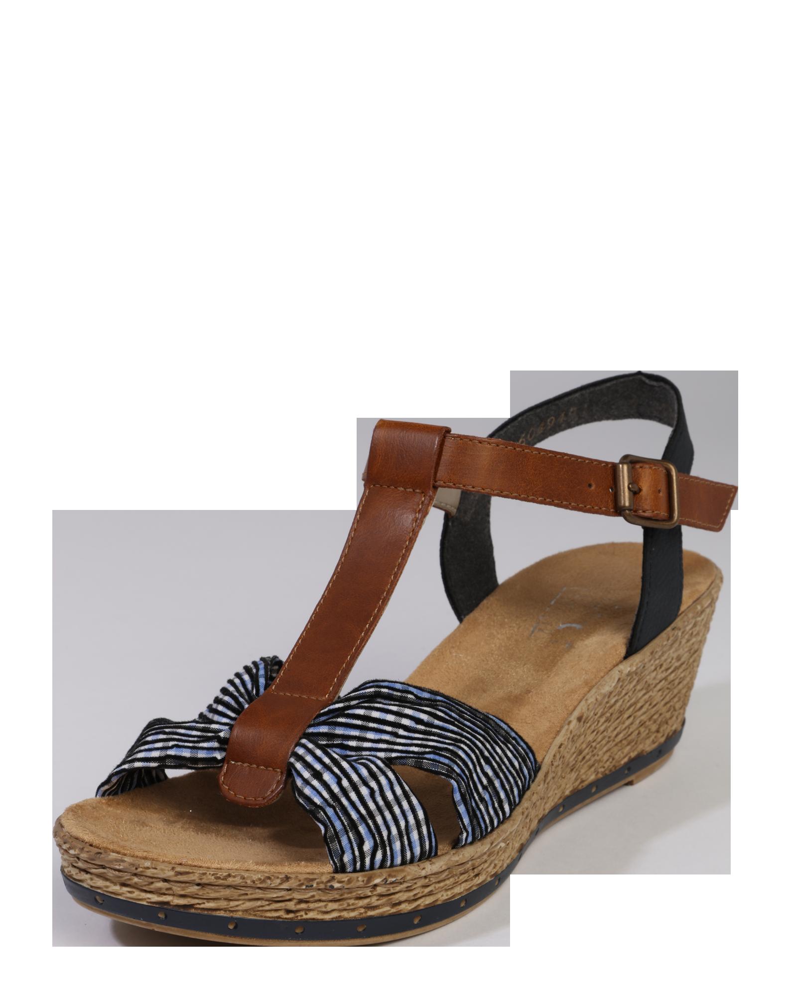 Sandalen Schuhe Damen Rieker Sandale Im Retrolook Blau Braun Ootd Outfit Fashion Style Online Blau Braun Rieker Sandalen Und Sandalen