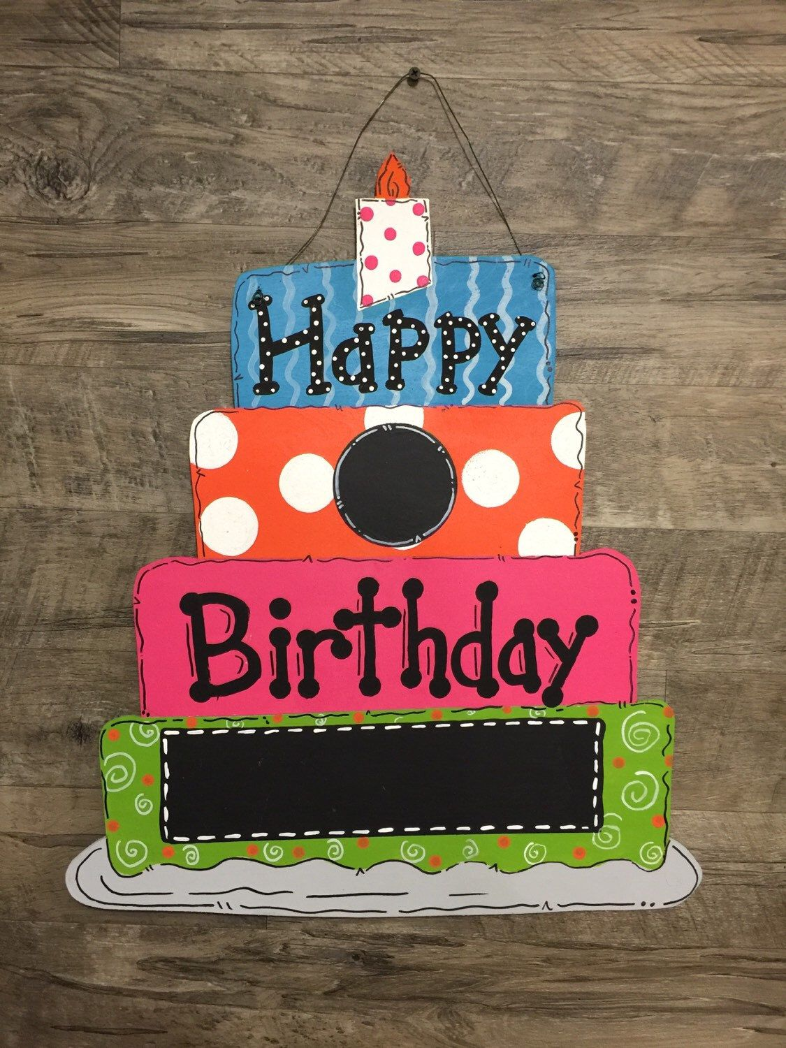 Custom Personalized Happy Birthday Cake Blank Chalkboard