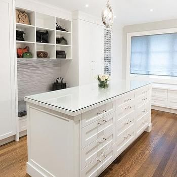 Glass top closet island with 12 drawers closet for Closet island with glass top