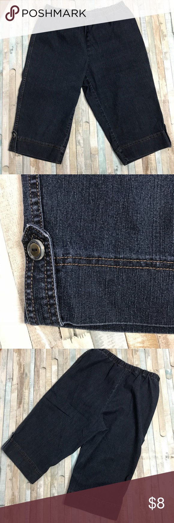 "8b62ef35e6f Pull on jean Capri elastic waist JMS stretch Just My Size Crop Pants. Size  1X 16W. Elastic waist. No pockets. Only about a 16"" Inseam so they hit just  under ..."
