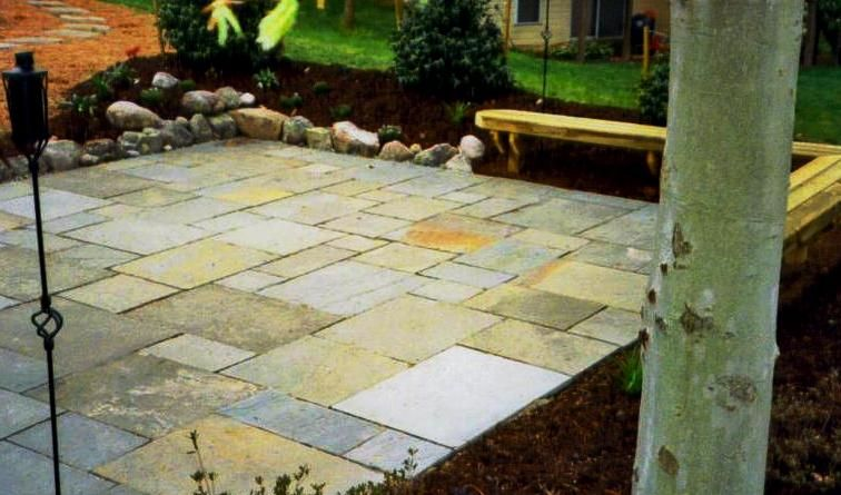 Patio With Square And Rectangular Stone Pavers (these Are A Bit Harder To  Find And