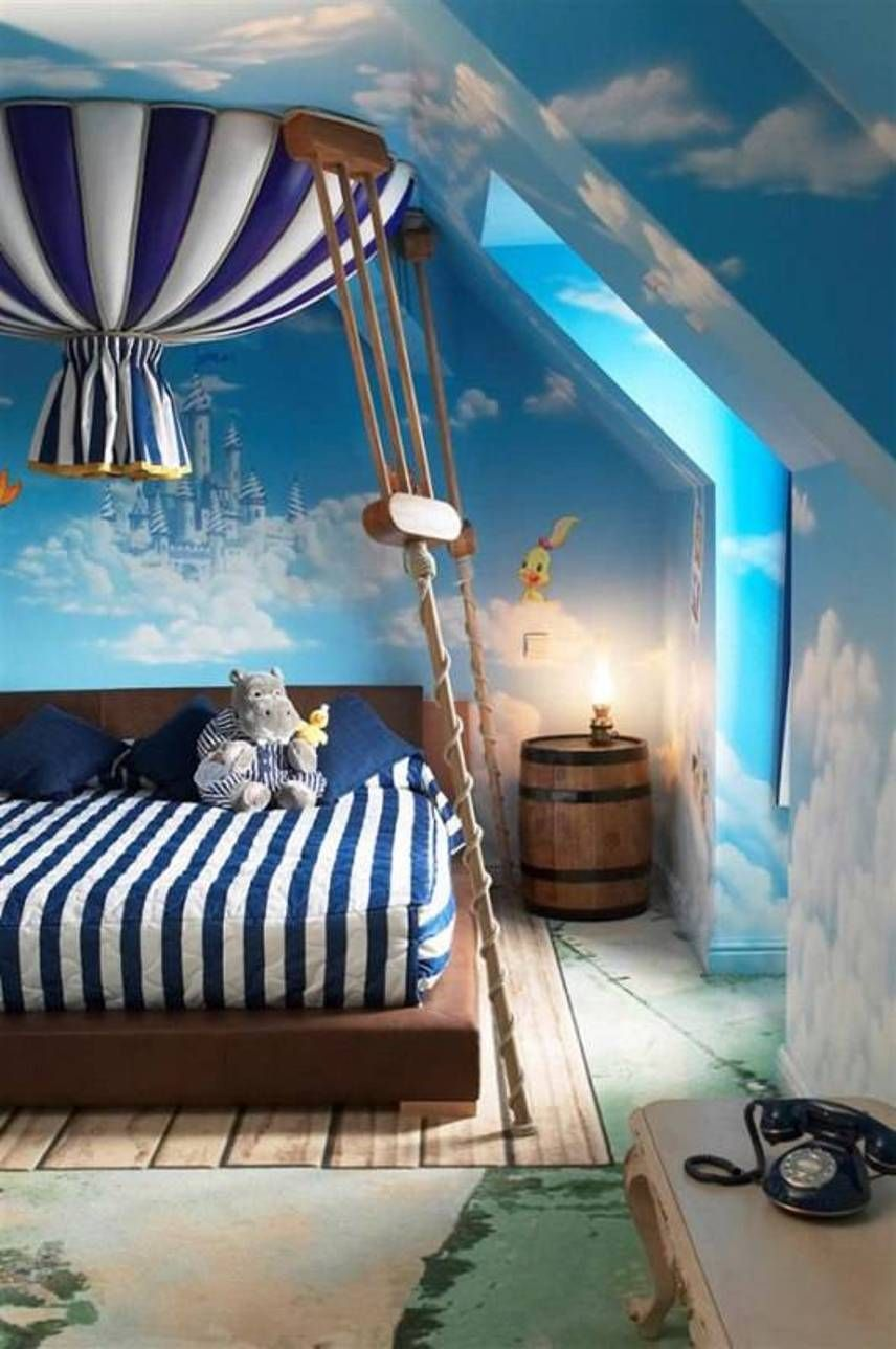 Bedroom Fairytale Decorating Ideas For Kids With Platform Bed And Clouds Castle Wallpaper Striped Bedding