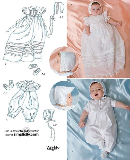 BABY CHRISTENING Outfits Sewing Pattern - Babies Gown Slip Romper ...