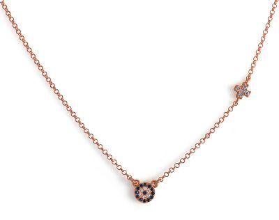 Κολιέ με ματάκι και σταυρουδάκι από ασήμι 925 - Ροζ  0fd019c6894