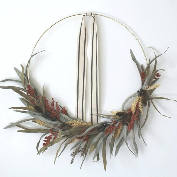 Photo of HANNAH, autumn wreath, gold wreath, wreath, modern wreath, front door wreath, wall hanging, eucalyptus wreath, berry wreath