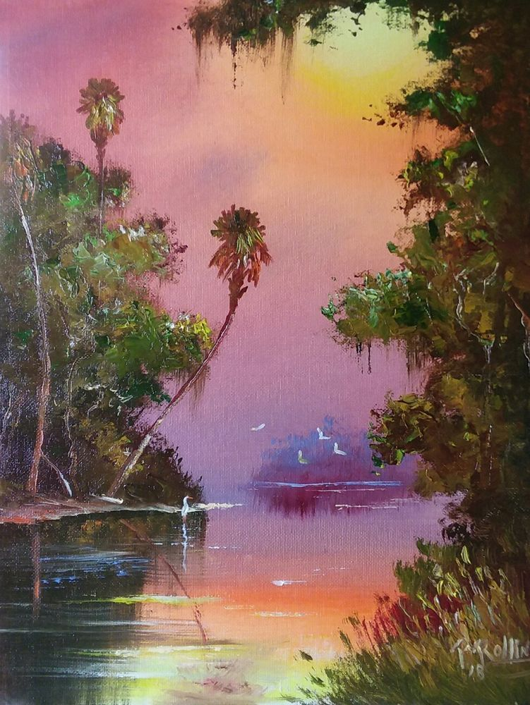 Florida Painting River Palm Oil Painting 11x14 Panel Florida