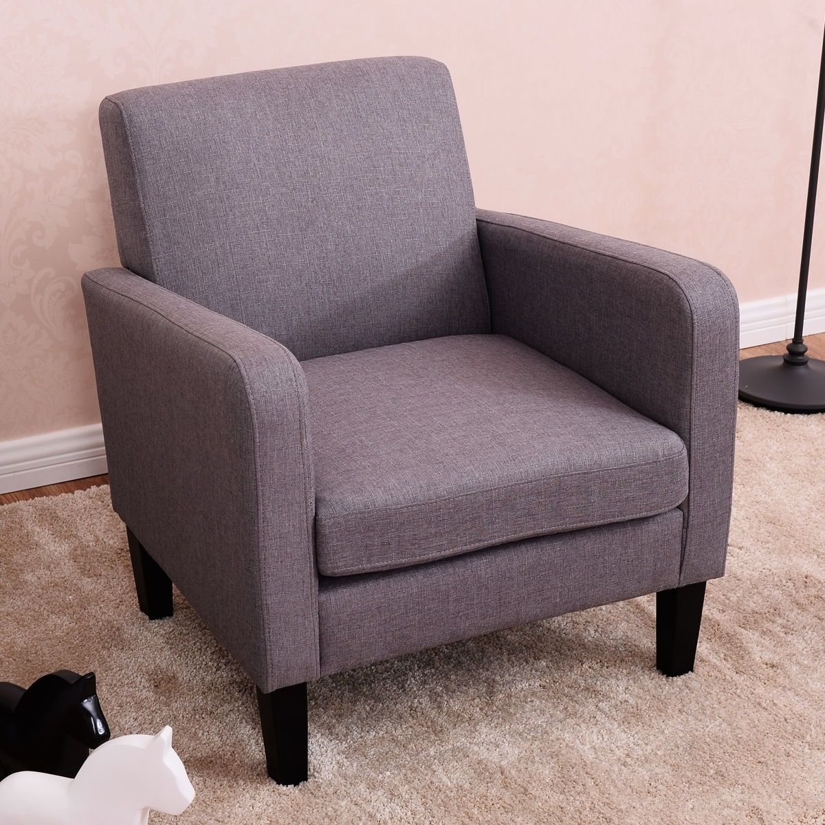 Costway leisure arm chair accent single sofa fabric upholstered living room furniture grey pine