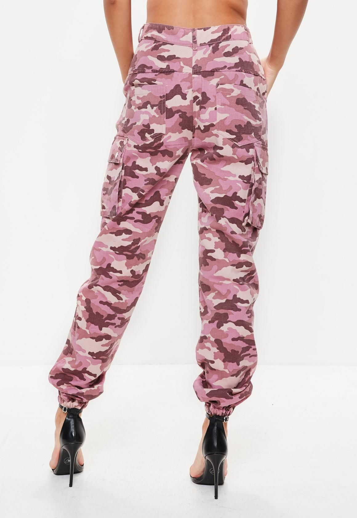 604704cba11b5 Missguided - Petite Pink Camo Printed Cargo Trousers   Autdorz in ...