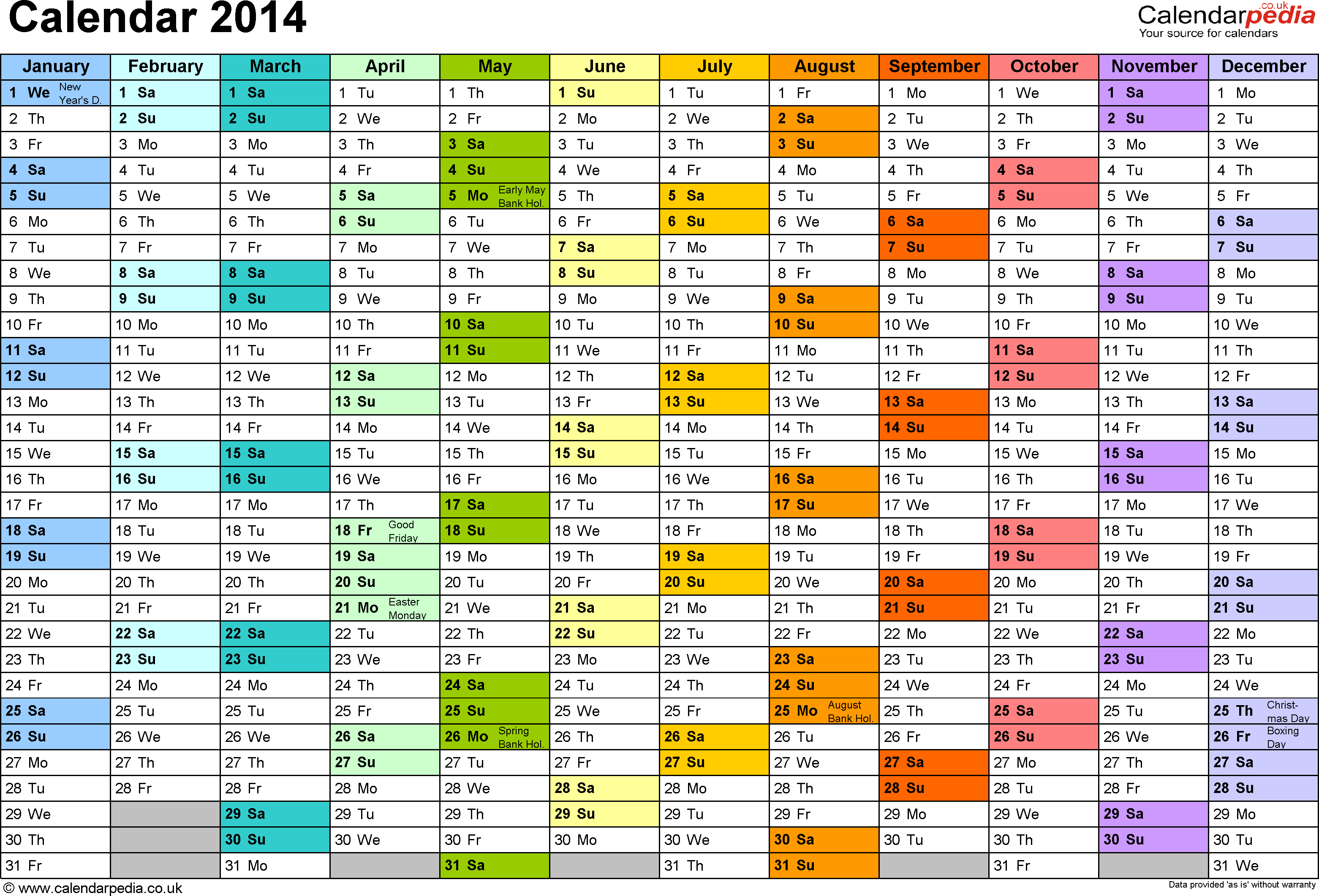 Template 2 Yearly Calendar 2014 As Pdf Template Landscape