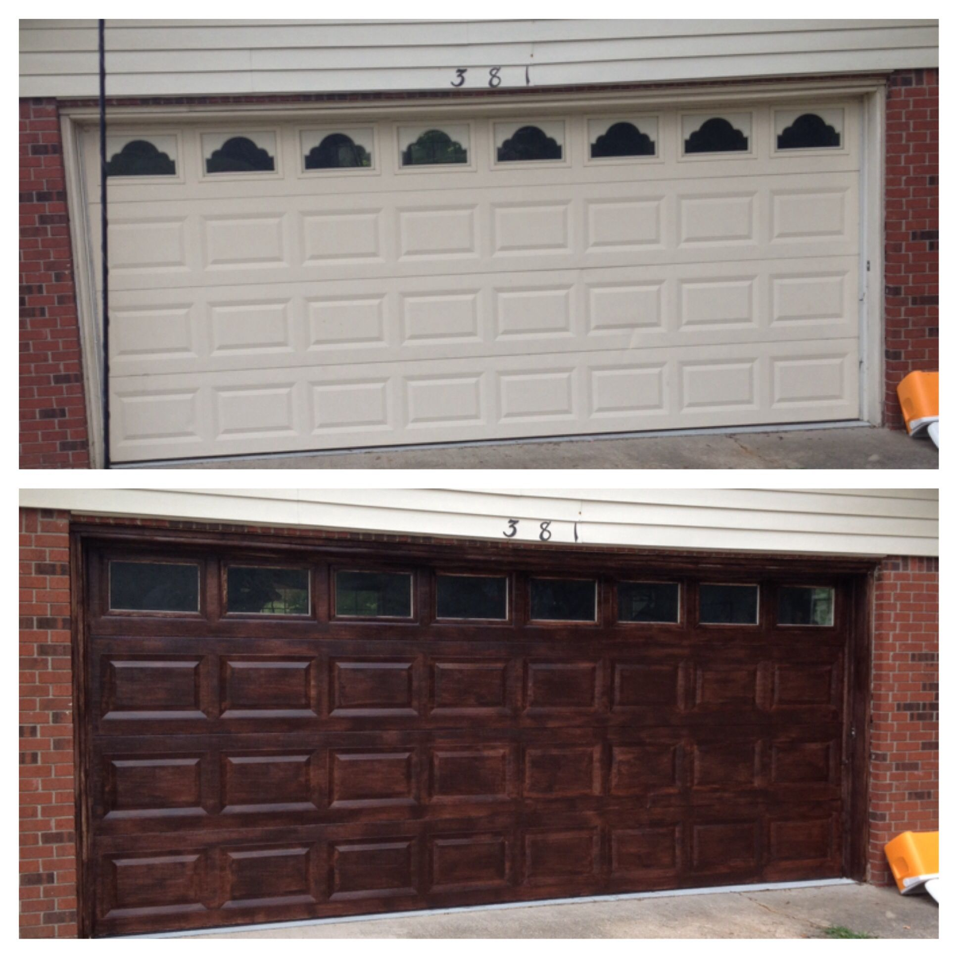 Minwax Gel Stain in Walnut Finish. We removed the window accents and on garage door windows, garage door before and after, garage door spring, garage door exterior, front door stain, garage door christmas, garage door wallpaper, garage door wood stain,