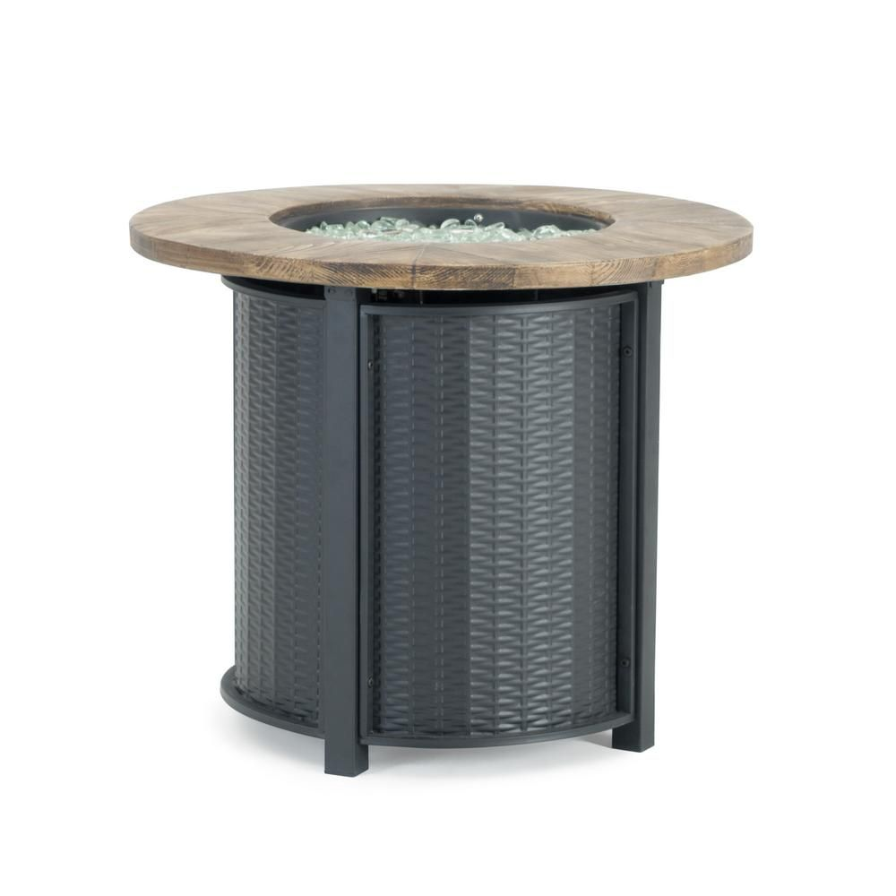 Sego Lily Logan 30 In X 25 In Round Powder Coated Steel Propane Fire Pit Table In Black With Storage Cover Sl Ft 2 Blk Propane Fire Pit Table Fire Pit Table Fire Table