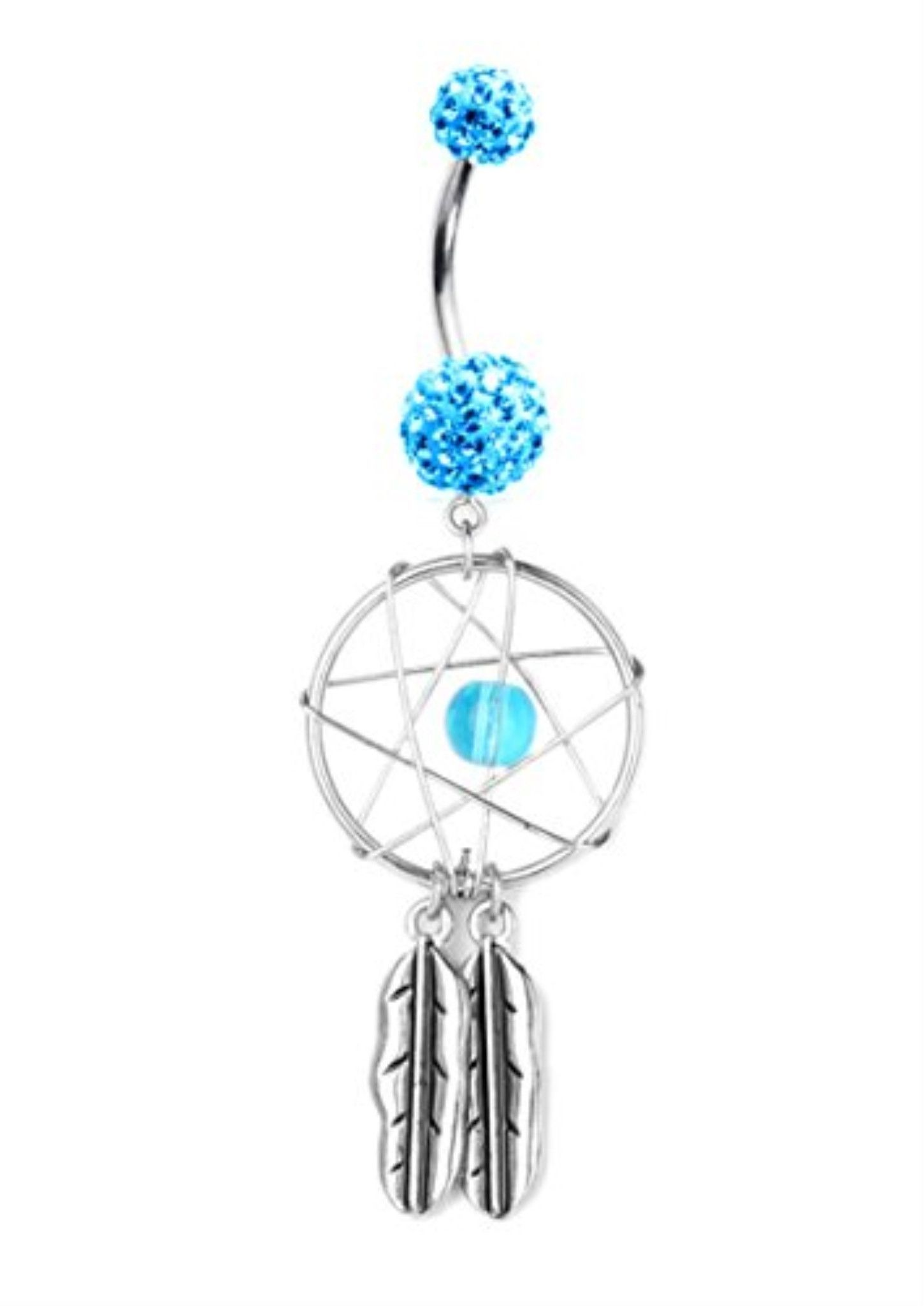 Long belly piercing  Aqua Crystal Evolution Dreamcatcher Belly Ring  Products