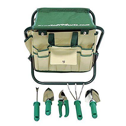 7 Piece Garden Seat Tool Set. Kit Includes 5 Tools: Pruner, Hand Shovel,  Cultivator (Hand Rake Or Hoe), Trowel, And Weeding Fork.