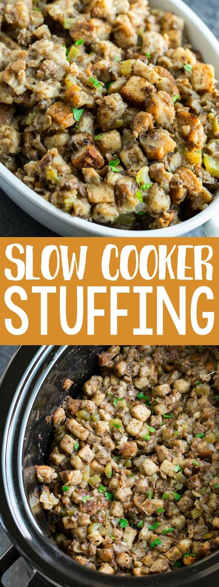 Thanksgiving Slow Cooker Stuffing Recipe - Peas and Crayons #stuffingrecipes