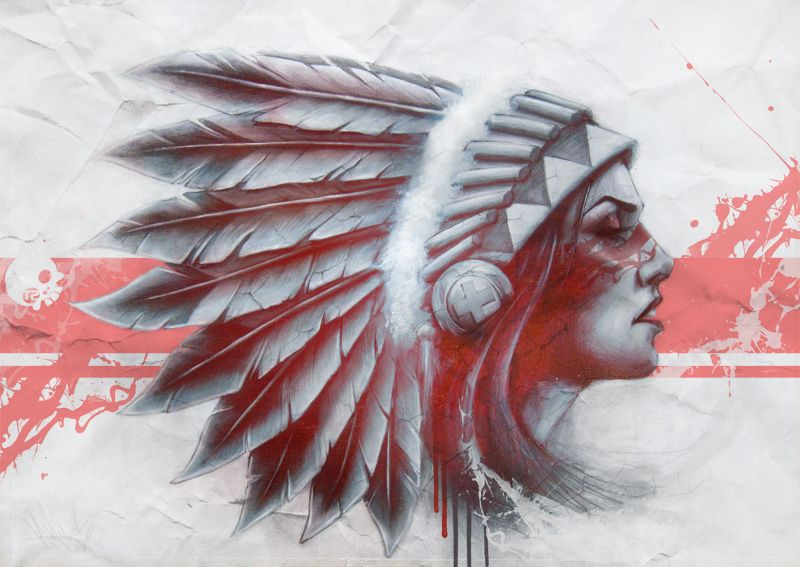 Native American chief-digital art   Indian Chief Hat Drawing Indian