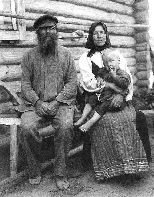 Дед и бабка с внуком. Рязанская губ.. Касимовский у., с ...
