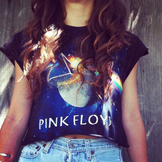 Reworked PINK FLOYD Galaxy crop top shirt