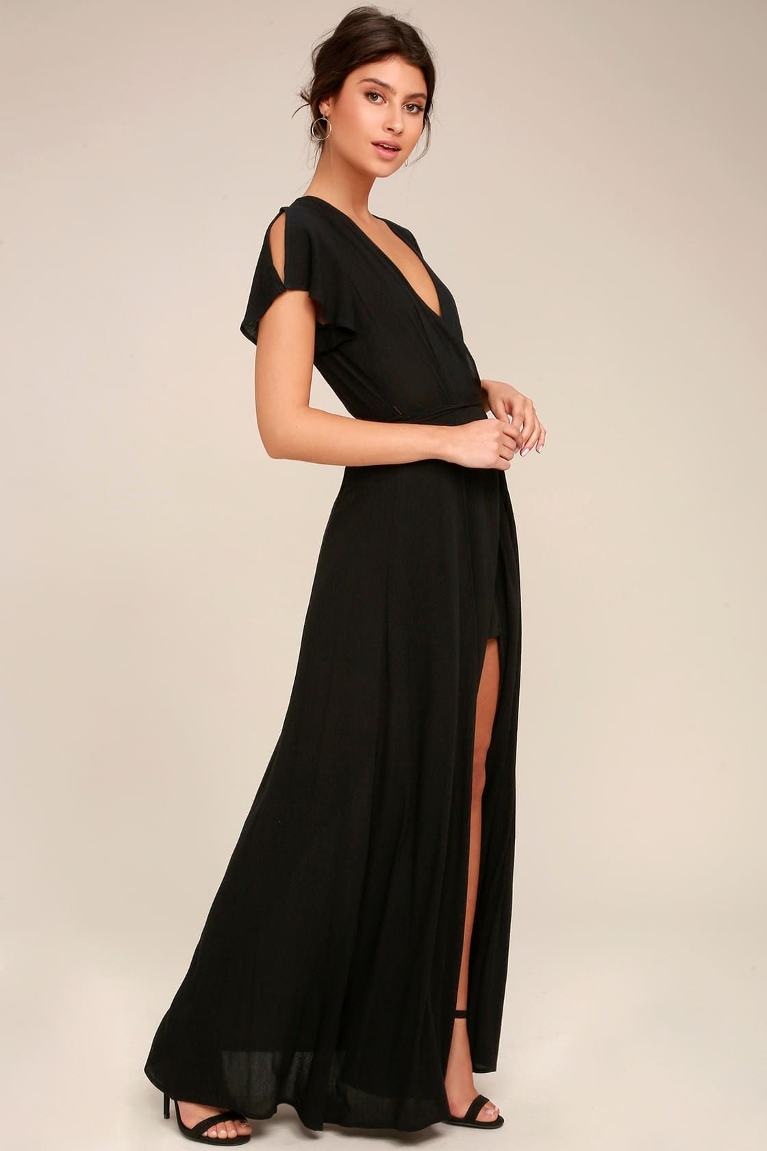 Heart Of Marigold Black Wrap Maxi Dress Stylish Black Dress Maxi Wrap Dress Black Dresses Casual [ 1680 x 1120 Pixel ]