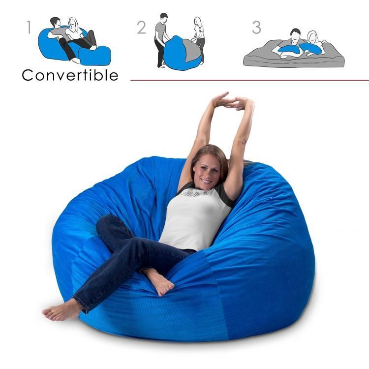 Convertible Bean Bag Chair Turns Into A Queen Size Mattress Bed