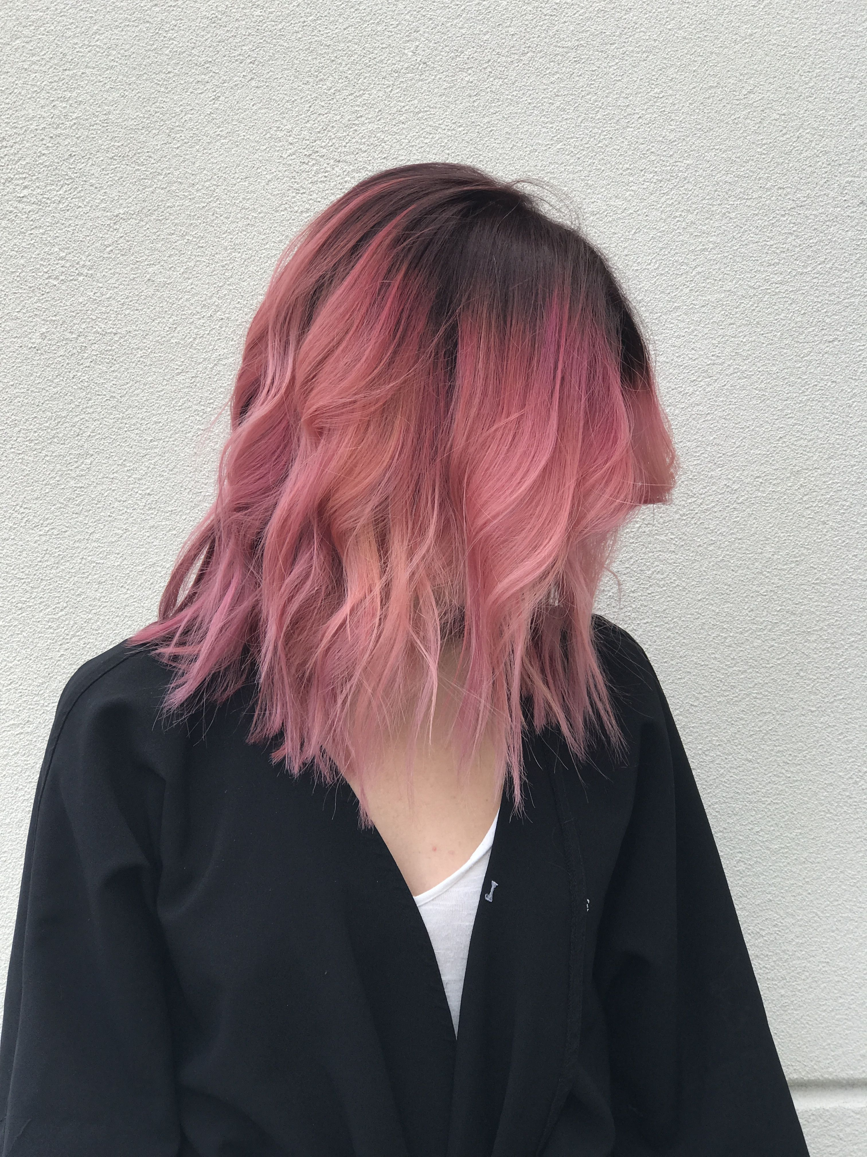 Dark Roots Pink Hair Dark Pink Hair Hair Styles Hair Color Dark