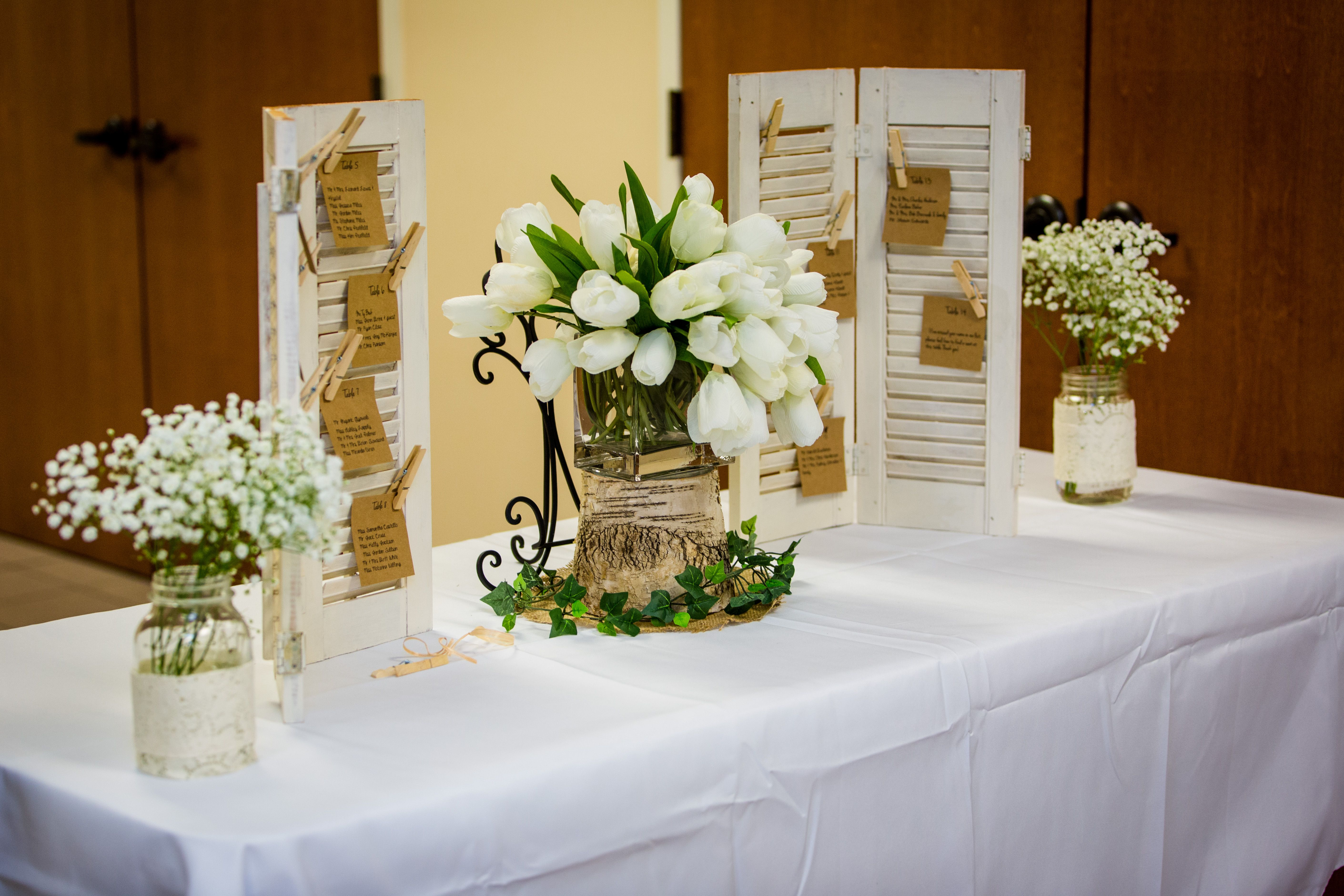 Tabletop White Rustic Shutters Joel And Amber Photography Thebridalcloset Wedding Rentals Decor Wedding Decorations Centerpiece Rentals