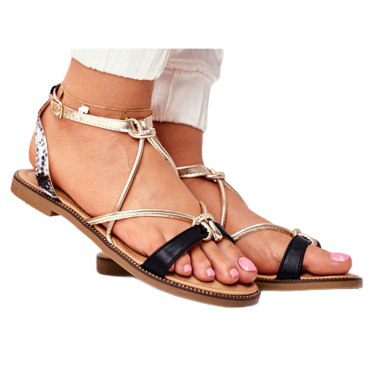 S Barski Sandaly Damskie Plaskie Czarno Zlote Barski Samim Czarne Zolte Shoes Sandals Fashion