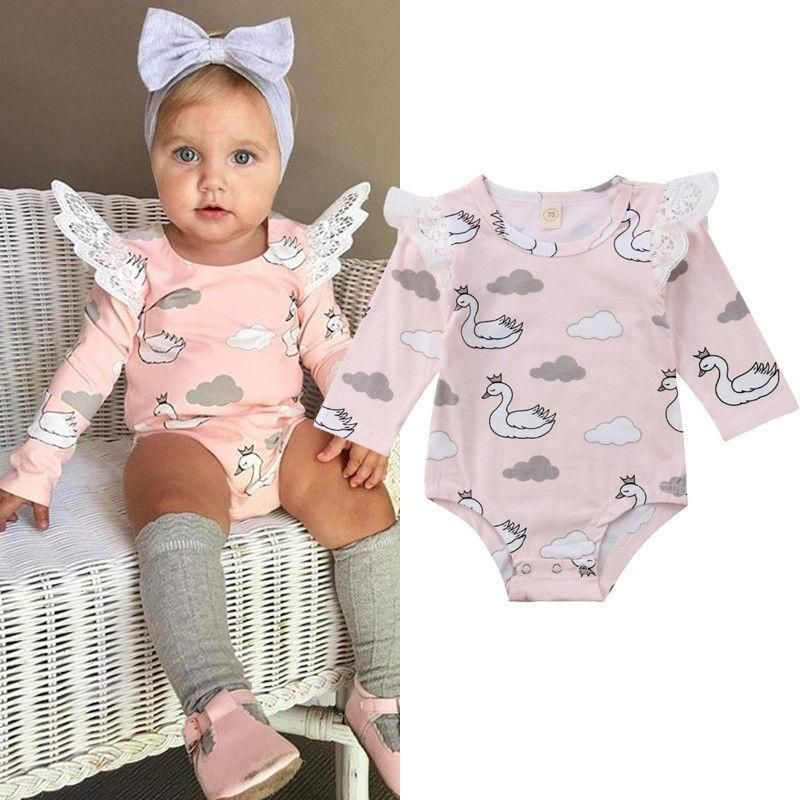 Infant Babys Cotton Long Sleeve Keep Calm Love Swans Romper Bodysuit Funny Romper Clothes