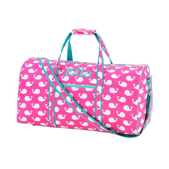 d8efb55e64 Pink with Mint Trim Whale Print Girls Overnight Duffle Bag with Included  Personalization Monogrammed Monogram or Name