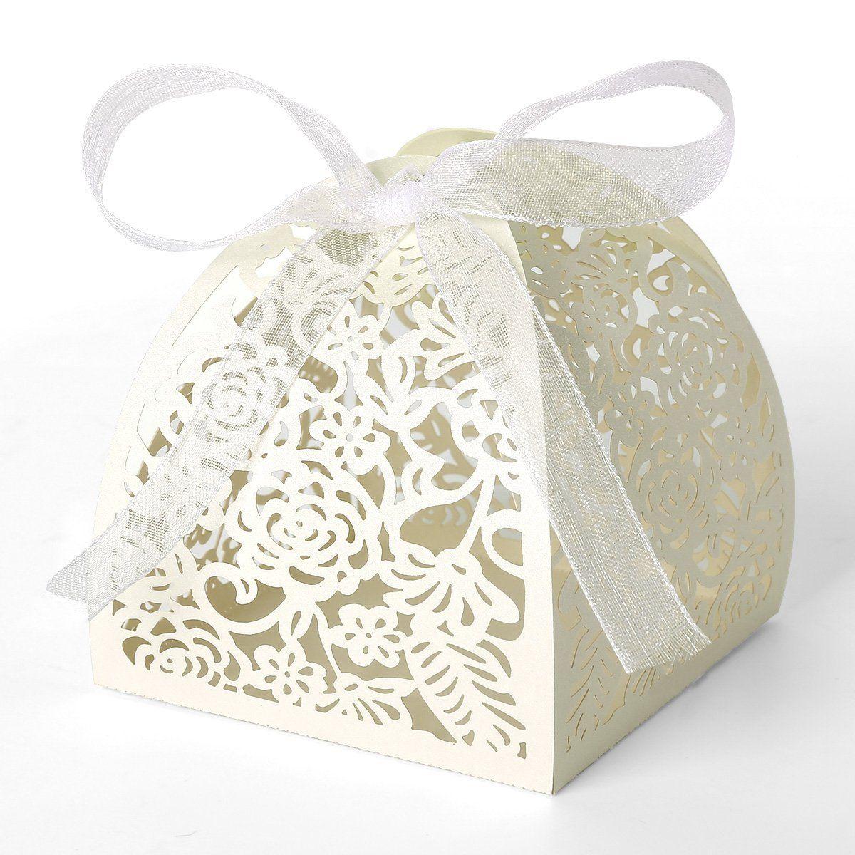 25x Boîte à dragées bonbons Ivoire Cage avec ruban Ballotin pour ...