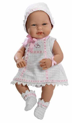 Real Baby Con Conjunto Blanco Y Rosa Tienda De Muñecas De Muñecas Arias Diversal Ropa De Muñeca Ropa Para Muñecos Ropa Para Nenuco