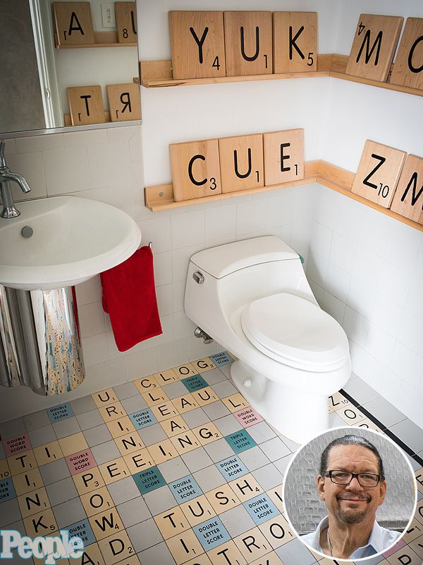 The Tiles On Floor Spell Out Bathroom Type Terms Including Tile Toilet Lotion And Powder