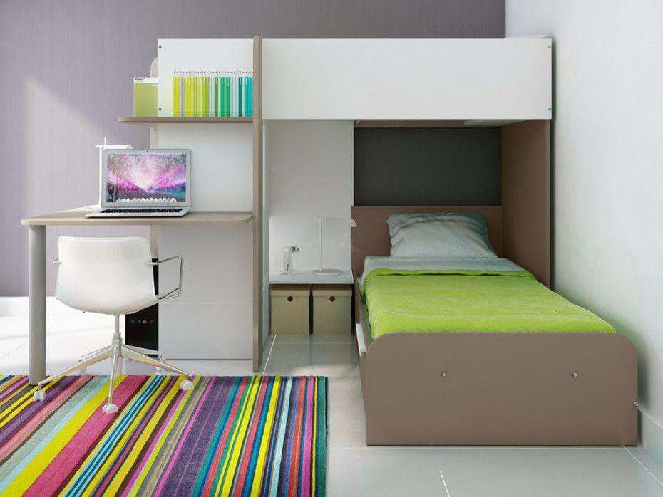 Hochbett Mit Schreibtisch Samuel Bettboden 2x90x190cm Braun