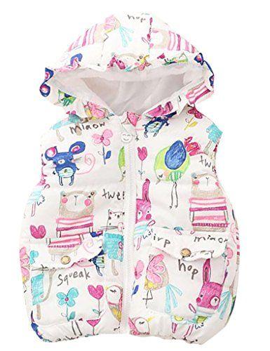 8af28b685304 ASHERANGEL Little Girls Cartoon Scrawl Printed Hooded Vest Zipper ...