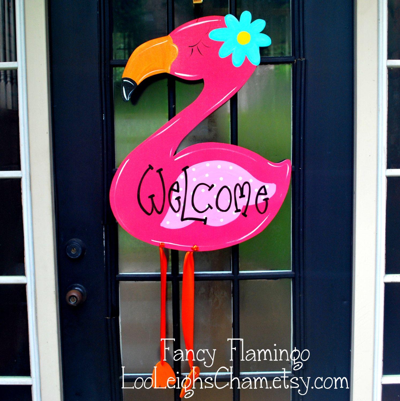 Summer Door Hanger Flamingo Door Decoration By