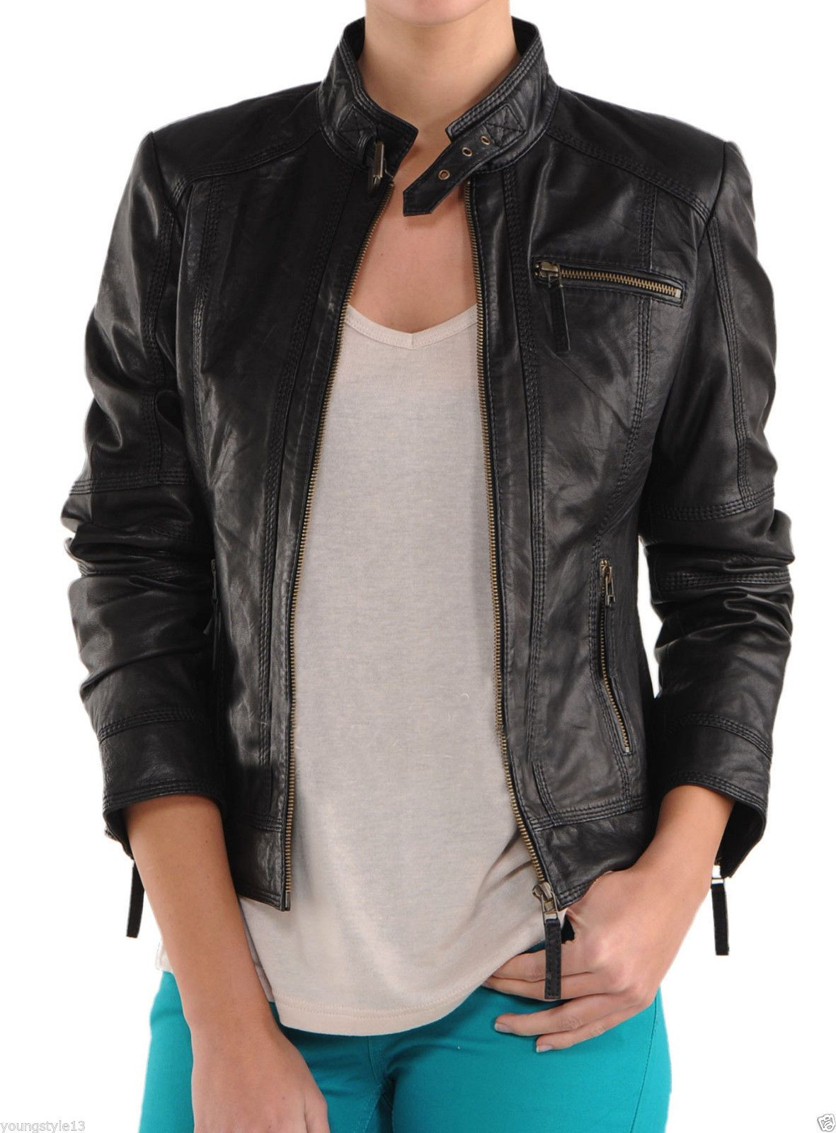 Luxury Black Jacket With Belted Tab Collar Front Zipper