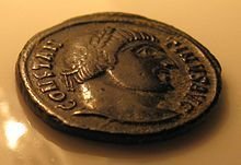 "The portrait of Gaius Flavius Valerius Constantinus on Roman coin. the inscription around the portrait is ""Constantinus Aug[ustus]""."