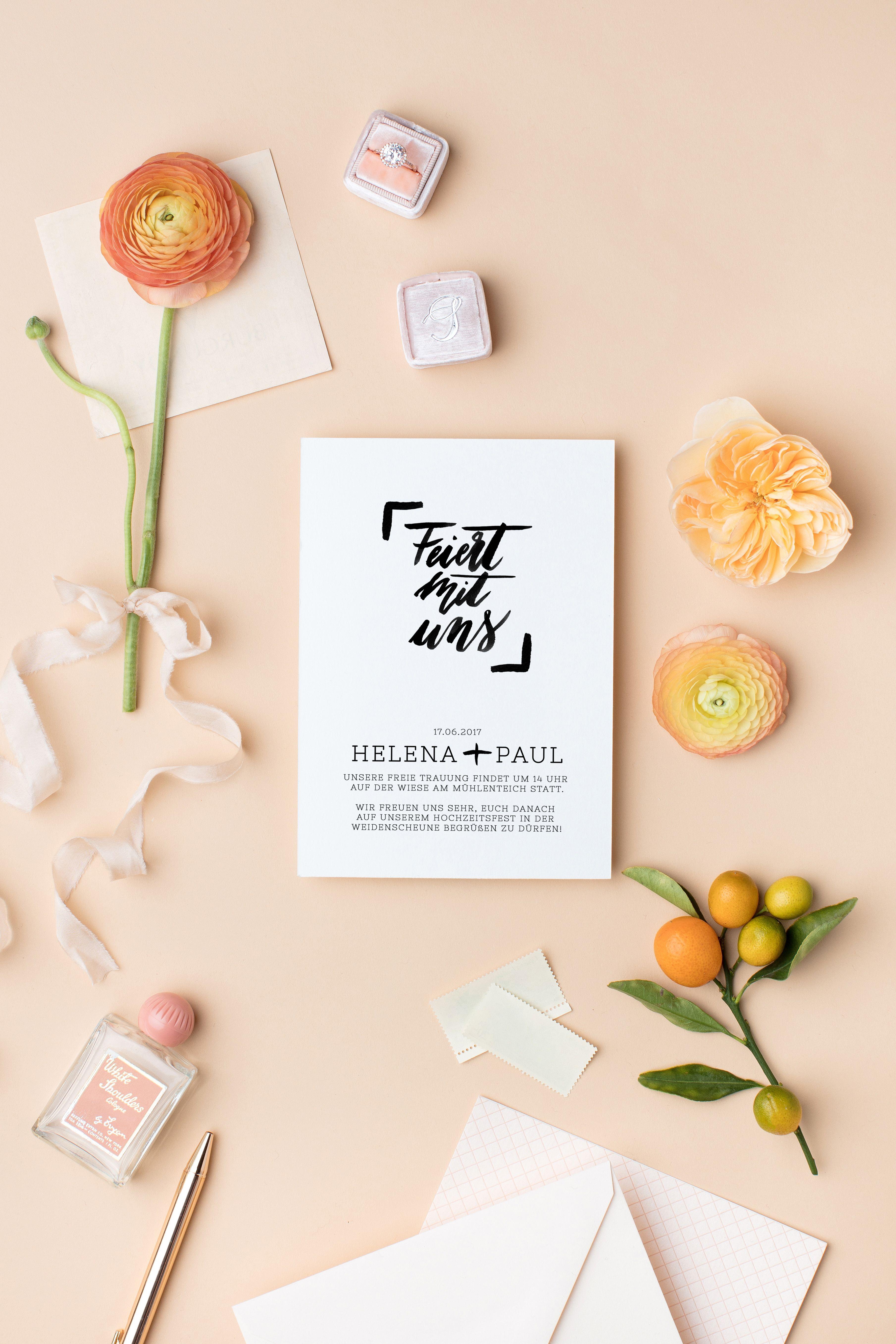 Einladung Hochzeit Download, Hochzeit Einladungskarte Download Brush  Letter, Brush Lettering DIY Einladung Für Hochzeit
